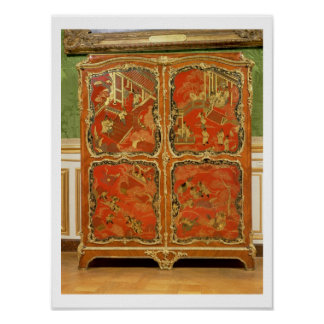 Armoire with four Chinoiserie red lacquer panels e Poster