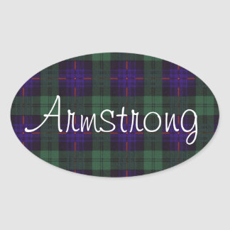 Armstrong clan Plaid Scottish tartan Oval Sticker