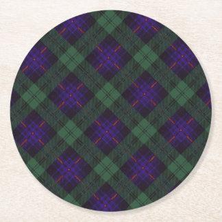 Armstrong clan Plaid Scottish tartan Round Paper Coaster