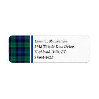 Armstrong Clan Royal Blue and Green Tartan Return Address Label