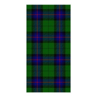 Armstrong clan tartan blue green plaid customized photo card