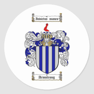 ARMSTRONG FAMILY CREST -  ARMSTRONG COAT OF ARMS CLASSIC ROUND STICKER