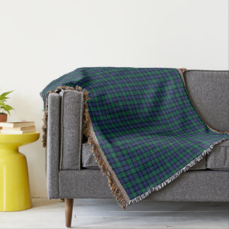 Armstrong Family Tartan Royal Blue and Green Plaid Throw Blanket