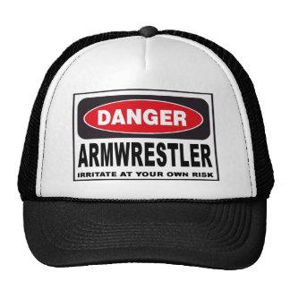 Armwrestler Danger Sign Hat