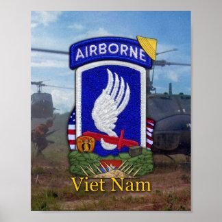 Army 173rd ABN BDE Vietnam War Patch Poster