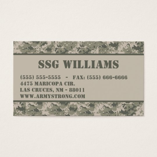 ARMY ACU Camoflauge Digital Camo Business Card