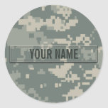 Army ACU Camouflage Customisable Round Sticker