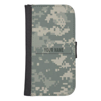 Army ACU Camouflage Customizable Samsung S4 Wallet Case