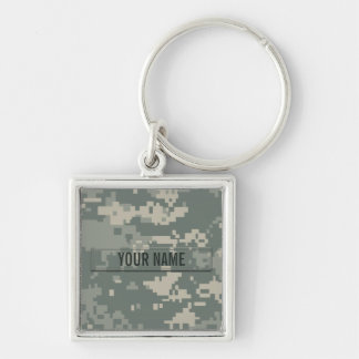 Army ACU Camouflage Customizable Silver-Colored Square Key Ring