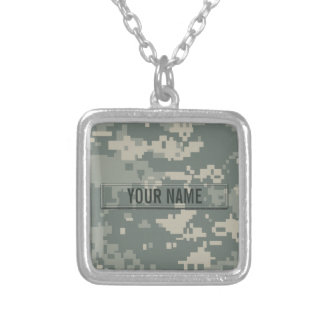 Army ACU Camouflage Customizable Silver Plated Necklace