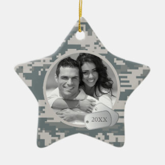 Army ACUs and Dog Tags Ceramic Star Decoration