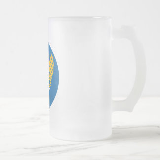 Army Air Corps Shield Frosted Glass Beer Mug