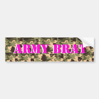 ARMY BRAT ON CAMO PRINT BUMPER STICKER