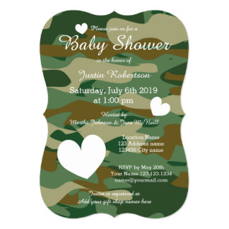 """Army camo baby shower invitations with cute hearts 5"""" x 7"""" invitation card"""