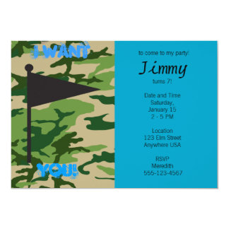 Army Camo Birthday 13 Cm X 18 Cm Invitation Card