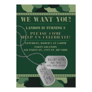 Army, Camo Birthday, 5x7 Invitation