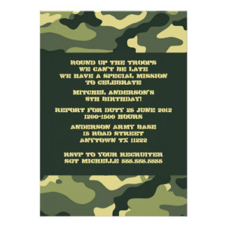 Army Camo Birthday Party invitation