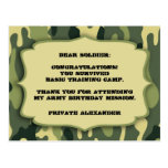 Army Camo Birthday party thank you note Postcards