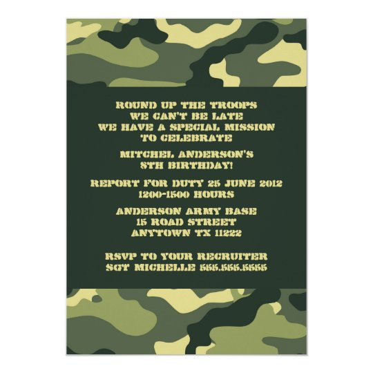 Army Camo Camouflage Birthday Party invitation
