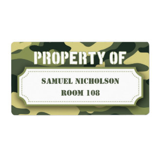 Army Camo Property ID school supply book Shipping Label