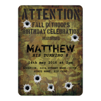 Army Camouflage Bullet Holes Kids Birthday 13 Cm X 18 Cm Invitation Card