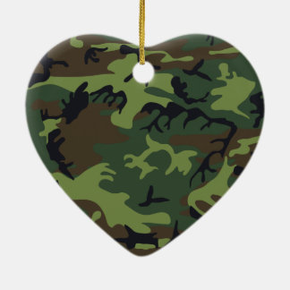 Army camouflage ceramic heart decoration