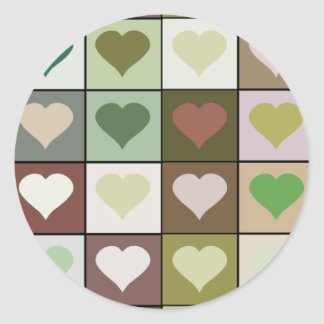 Army camouflage color Heart pattern Round Sticker
