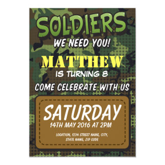 Army Camouflage Comic Theme Kids Birthday Card