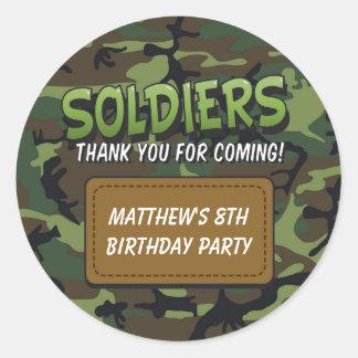 Army Camouflage Comic Theme Kids Birthday Stickers