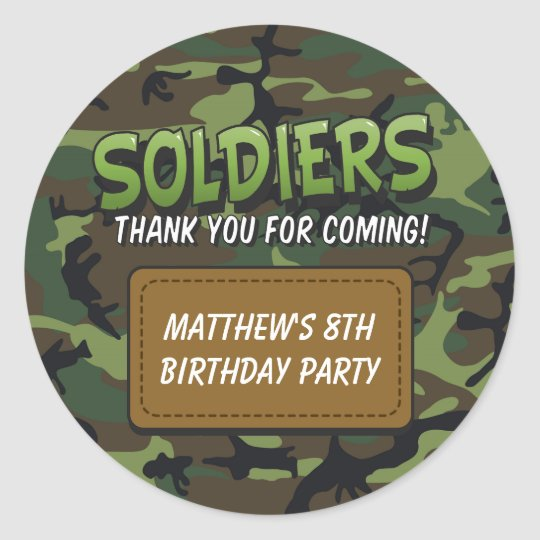 Army Camouflage Comic Theme Kids Birthday Stickers