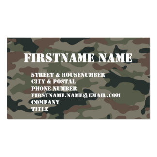 Army Camouflage Green Brown Soldier Business Card Templates