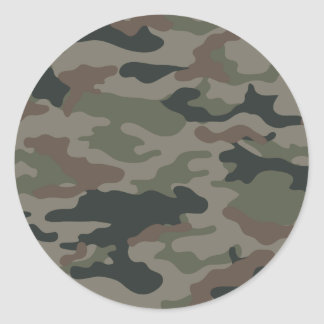 Army Camouflage in Green and Brown Military Round Sticker
