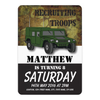 Army Camouflage Military Truck Kids Birthday 13 Cm X 18 Cm Invitation Card