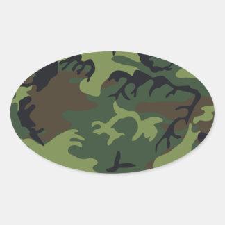 Army camouflage oval sticker