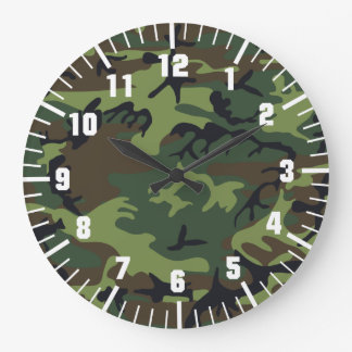 army camouflage pattern large clock