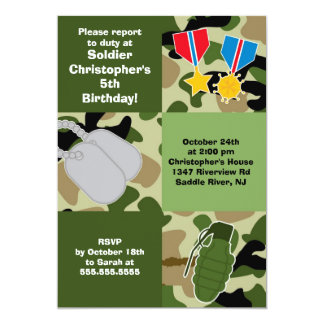 Army Camouflage Soldier Kids Birthday Party Card