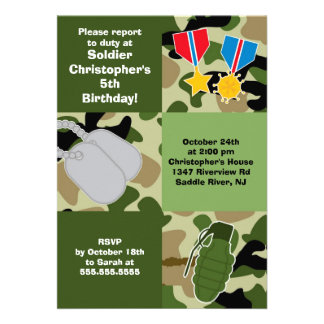 Army Camouflage Soldier Kids Birthday Party Personalized Announcements