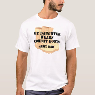 Army Dad Daughter Desert Combat Boots T-Shirt