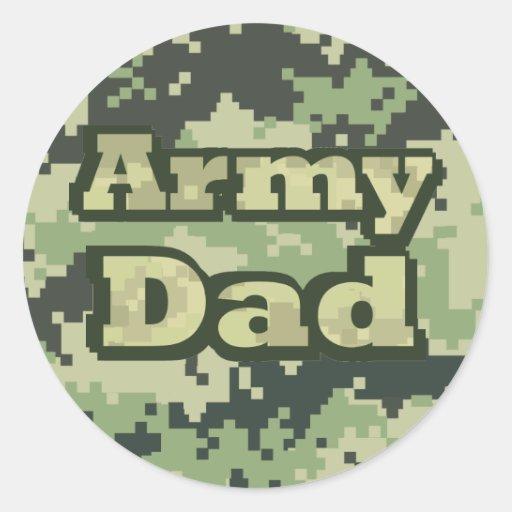 Army Dad Round Stickers