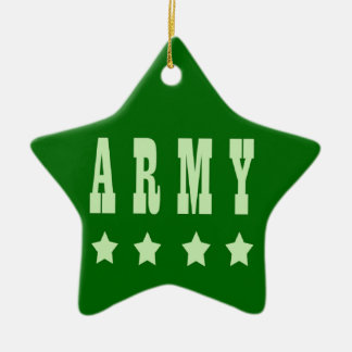 Army Double-Sided Star Ceramic Christmas Ornament
