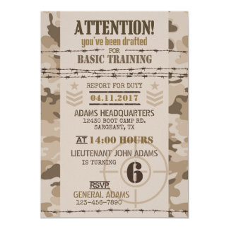 Army Desert Camouflage Military Birthday 13 Cm X 18 Cm Invitation Card