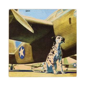 Army Dog Maple Wood Coaster