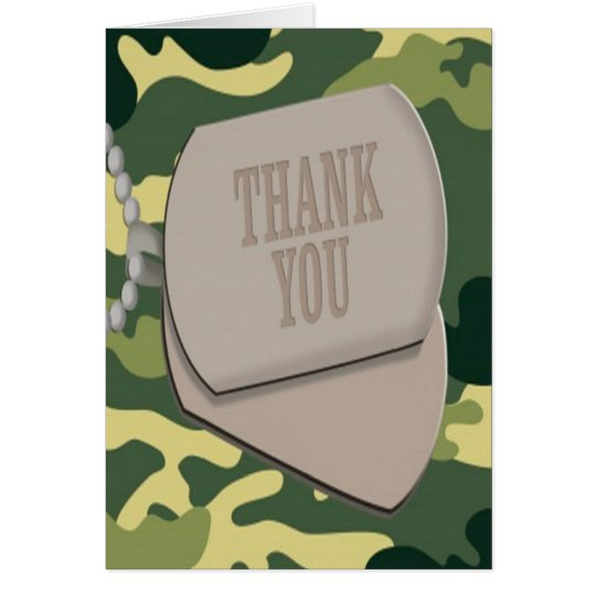 Army Dog Tags Camo Thank You Cards