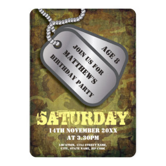 Army Dog Tags Rustic Kids Birthday 13 Cm X 18 Cm Invitation Card