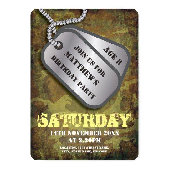 Army Dog Tags Rustic Kids Birthday Card