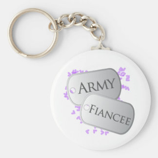 Army Fiancee Dog Tags Basic Round Button Key Ring