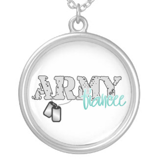 Army Fiancee Round Pendant Necklace