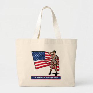 ARMY GIRL WITH FLAG TOTE BAGS