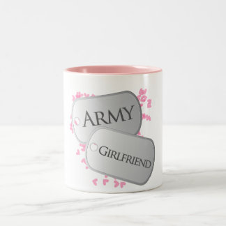 Army Girlfriend Dog Tags Two-Tone Mug