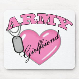 Army Girlfriend Pink Heart N Dog Tag Mouse Mat